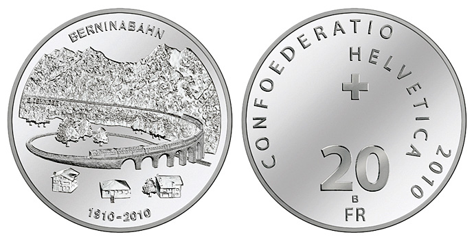 100 years of Bernina Railway 2010 20 frank swiss coin